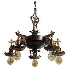 Antique Five Light Two-Tone Chandelier