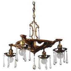 Antique Chandelier with Teardrop Prisms, Early 1900s