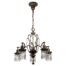 Neoclassical Chandelier with Prisms, Antique Lighting