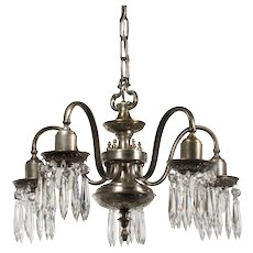 Antique Adam Style Silver Plate Chandelier with Prisms