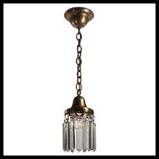 Antique Brass Pendant Light with Prisms, c. 1900