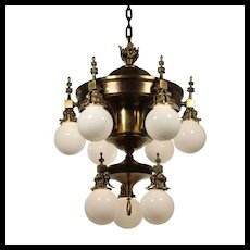 Substantial Antique Brass Chandelier with Ball Shades