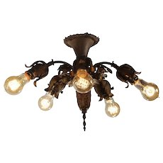 Antique Semi-Flush Chandelier, Early 1900's