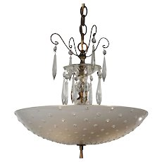 Vintage Brass Pendant Light with Hobnail Glass Shade, c.1940