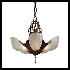 Art Deco Slip Shade Chandelier by Markel, Antique Lighting