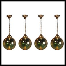 Mirrored Glass Ball Pendant Lights, Vintage Lighting