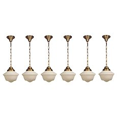 Petite Antique Brass Schoolhouse Pendant Lights