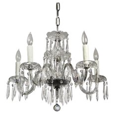 Five-Light Glass Chandelier with Prisms, Antique Lighting