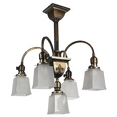 Antique Brass Semi-Flush Chandelier by Beardslee, Antique Lighting