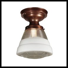 Antique Flush Mount Light with Glass Shade