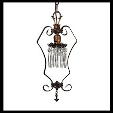 Antique Pendant Light with Prisms