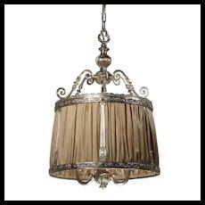 Antique Neoclassical Pendant Light, Silver Plate