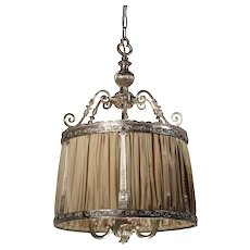 Antique Neoclassical Pendant Light, Silver Plate