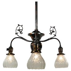 Antique Gas Chandelier with Original Glass Shades, c. 1880