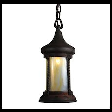 Antique Lantern Pendant with Opalescent Glass, c.1910