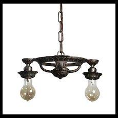 Antique Cast Iron Two-Light Chandelier