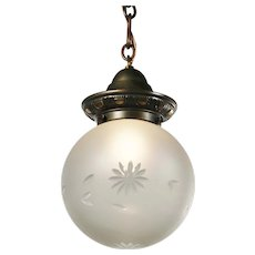 Antique Brass Pendant with Original Ball Shade, c. 1910