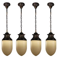 Antique Cast Bronze Pendant Lights, Bullet Shade