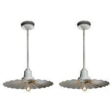 Vintage Pendant Lights with Ruffled Shades, Early 1900s