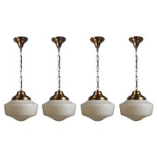 Antique Brass Schoolhouse Pendant Lights