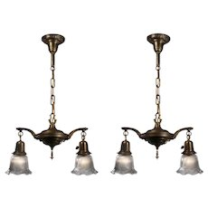 Antique Two-Light Chandeliers with Glass Shades