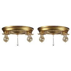 Neoclassical Flush Mount Fixtures in Brass, Antique Lighting