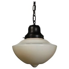 Antique Schoolhouse Pendant Light with Unusual Shade