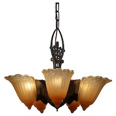 Art Deco Slip Shade Chandelier by Lincoln, Antique Lighting