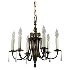 Antique Brass Six-Light Chandelier with Teardrop Prisms