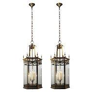 Substantial Antique Brass Pendant Lights, c. 1920
