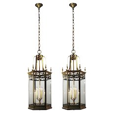 Substantial Antique Brass Pendant Lights, c. 1920