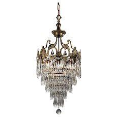 Neoclassical Brass Tiered Chandelier, Antique Lighting