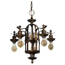 Marvelous Antique Spanish Revival Five-Light Bronze Chandelier, Early 1900s