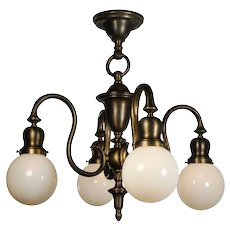 Antique Colonial Revival Chandelier with Glass Globes, Early 1900s