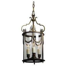 Antique Bronze Lantern with Wavy Glass