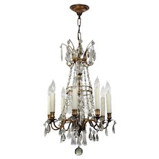 Antique Neoclassical Brass Chandelier with Prisms
