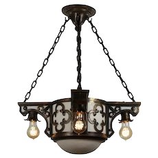 Antique Inverted Dome Chandelier, Gothic Revival
