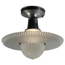 Vintage Flush Mount Light Fixture with Original Glass Shade, c.1940