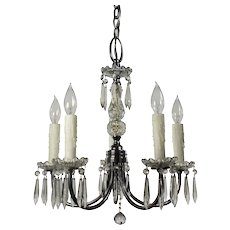 Antique Five-Light Chandelier with Prisms, Early 1900's