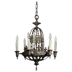 Antique Six-Light Tudor Chandelier, Fleur De Lis
