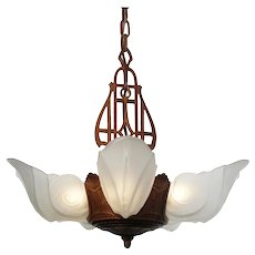 "Antique Art Deco Slip Shade Chandelier, ""Warwick"" Design by Glasco Electric,"