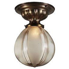 Antique Flush Mount Light With Original Glass Shade, c.1910