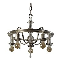 Neoclassical Silverplate Chandelier with Prisms, Antique Lighting