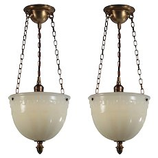 Antique Inverted Dome Pendant Lights, c. 1913