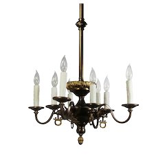 Antique Transitional Brass Chandelier, Figural