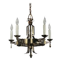 Antique Tudor Five-Light Chandelier, C.1920