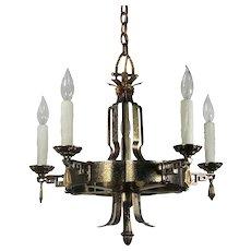 Antique Tudor Five-Light Chandelier, C.1920