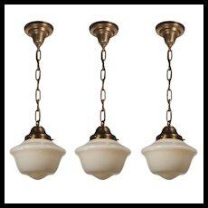 Petite Antique Brass Schoolhouse Pendant Lights