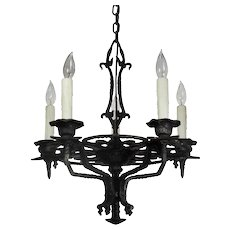 Antique Tudor Chandelier in Cast Iron, Fleur d-e Lis