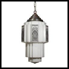 Gorgeous Antique Art Deco Skyscraper Pendant Light, c.1920s